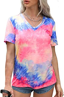 Women Tie Dye T Shirt V Neck Short Sleeve Shirts Gradient Color Tee Casual Floral Print Top Fashion Blouse