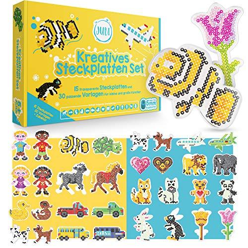 Jubi® 15 Bügelperlen Platten mit 30 passenden Vorlagen - Transparente 5 mm Steckplatten mit stabilen Papiervorlagen und Zubehör für Kinder ab 5 Jahre