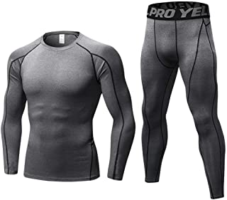 Thermal Underwear Mens, Long Johns for Men Thermal Underwear Set Long Sleeve Base Layer Compression Suit Winter Thermals T...