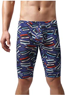 waitFOR Mens Printing Slim Fit Middle Length Trouser Man Teen Boys Swim Trunks Home Casual Stretch Thin Pyjama Bottoms Sho...