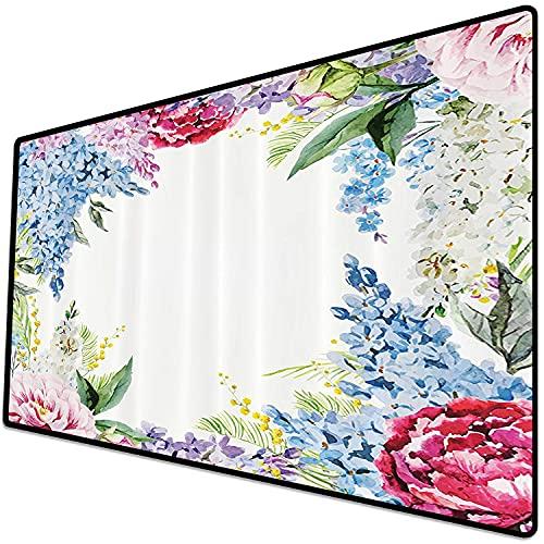 Alfombrilla de ratón (600x300x3 mm) Flor, Guirnalda de Fragancia primaveral con Ramo de Flores Lila Lavanda Rosa Peonía Estampado Art Superficie Suave y cómoda de la Alfombrilla de ratón para Juegos