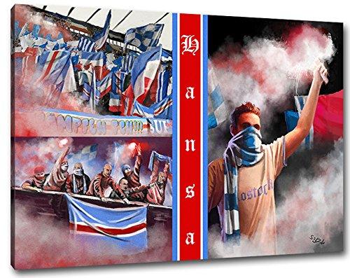 Ultras-Art RostockCollage Format: 120x80, Bild auf Leinwand XL, fertig gerahmt