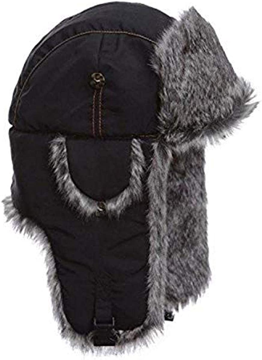 Mad Bomber Black Aviator Pilot Bomber Hat with Faux Fur Trapper Hunting Cap