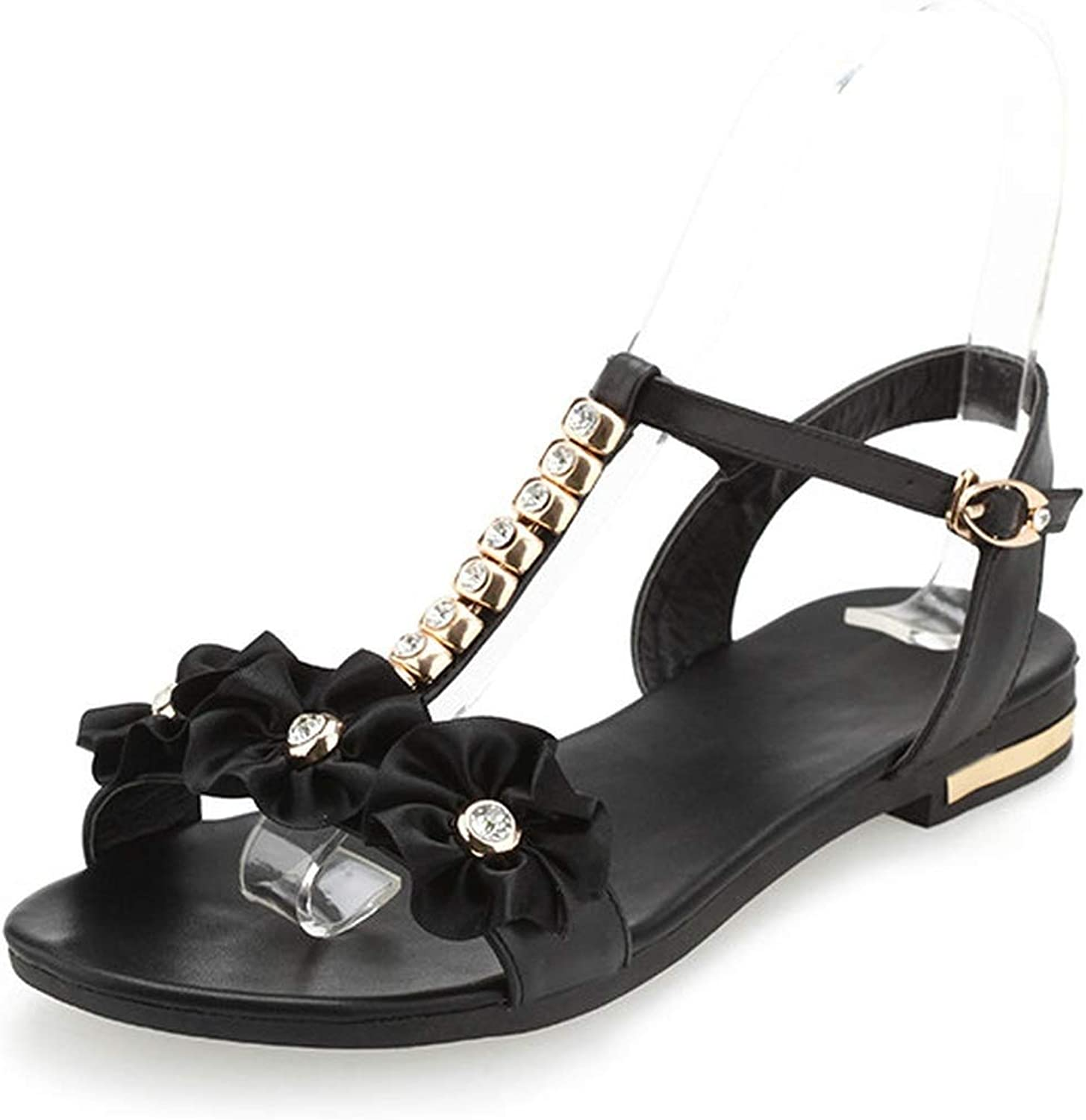 Women Sandals Buckle Pu Leather Women shoes Square Heel Casual All Match Black Women Sandals 34-43