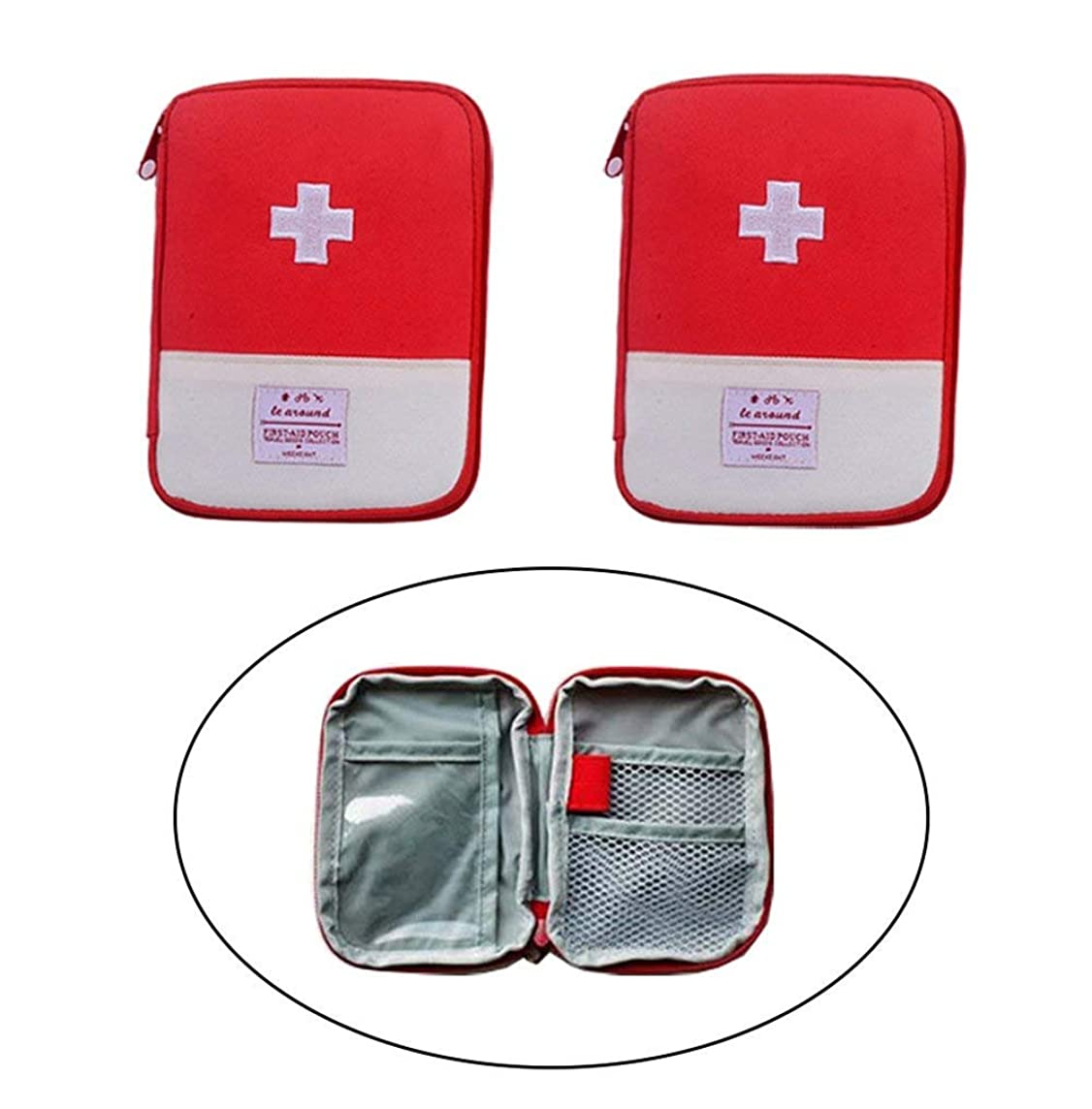 Echodo Travel Mini First Aid Pouch Multifunction Emergency Medicine Storage Bag Pills Drugs Package Container for Outdoor Activities Camping Hiking 2 Packs