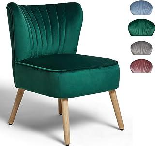 OMNIPRO Fauteuil en Velours,Pieds en Bois,57 x 68 x76cm,pour Petit Appartement, Salon, Chambre,Vert