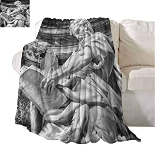 Plush Throw Blankets Statue of St. Matthew at Basilica of St. John Lateran in Rome Cathedra with Pillars Light Grey Super Soft Throw Kids Blanket 84x54 Inch