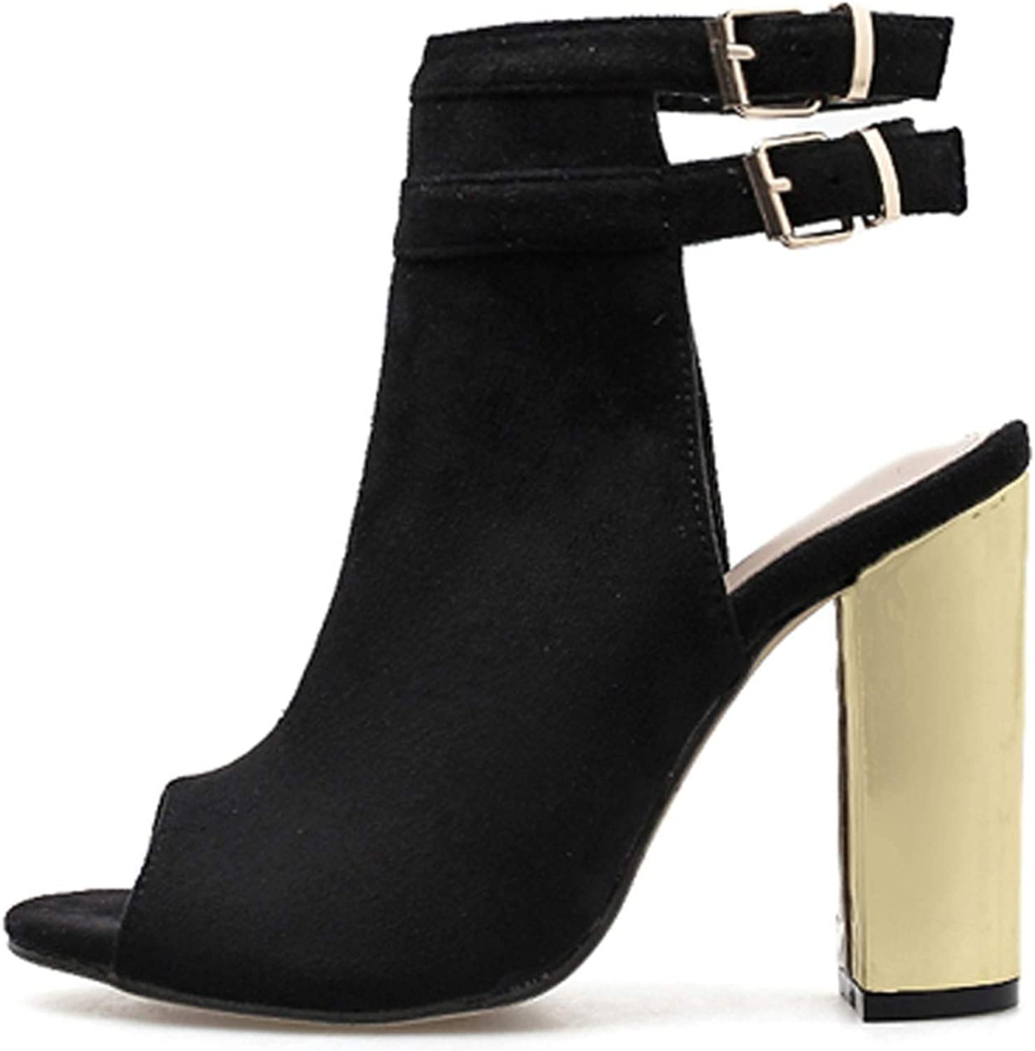 HuangKang 2019 New Female Sandals Open Toe Square Heel Sandals Black Sexy Ankle Straps High Heels Women shoes
