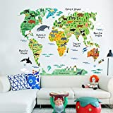ufengke Cartoon World Map Cute Terrestrial and Aquatic Animals Wall Decals, Children's Room Nursery Removable Wall Stickers Murals