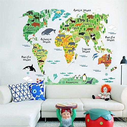 ufengke Mappa del Mondo dei Cartoni Animati Simpatici Animali Terrestri Ed Acquatici Adesivi Murali, Camera dei Bambini Vivai Adesivi da Parete Removibili/Stickers Murali/Decorazione Murale
