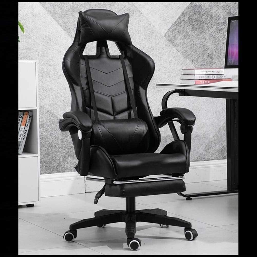 chaise FHW de Bureau exécutif Recline Jeux, de Bureau Ordinateur, Conception Ergonomique Robuste Reclining Haut Dossier rembourré Umbar Soutien de Bureau (Color : Pink) Black