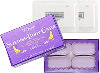 Victoria Soaps of Sweden Swedish Body Care Shea Butter Soap, Honey and Bilberry, 4 CT with Disposable Body Shower Sponge 2 CT