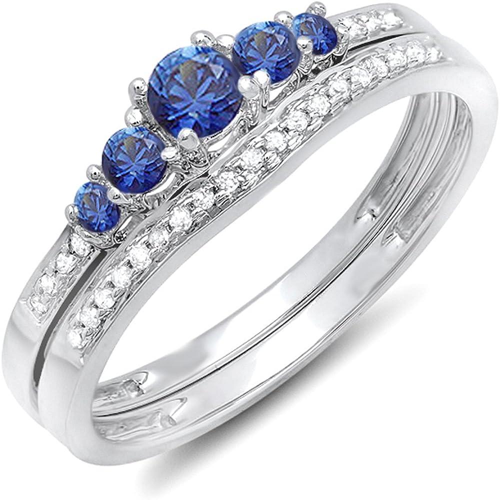 Dazzlingrock Collection 14K Blue Sapphire & White Diamond Ladies 5 Stone Bridal Engagement Ring Matching Band Set, White Gold