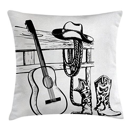Western Decor Werfen Kissenbezug, Country Musik und Cowboy Rodeo Thema mit Gitarre Folk Kultur Sketchy Design, dekorative quadratisch Accent Kissen Fall, 45,7x 45,7cm, schwarz weiß