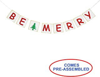 Be Merry Banner Garland - Indoor Outdoor Holiday Mantle Decorations - Christmas Party Decor Supplies - Family Photo Props