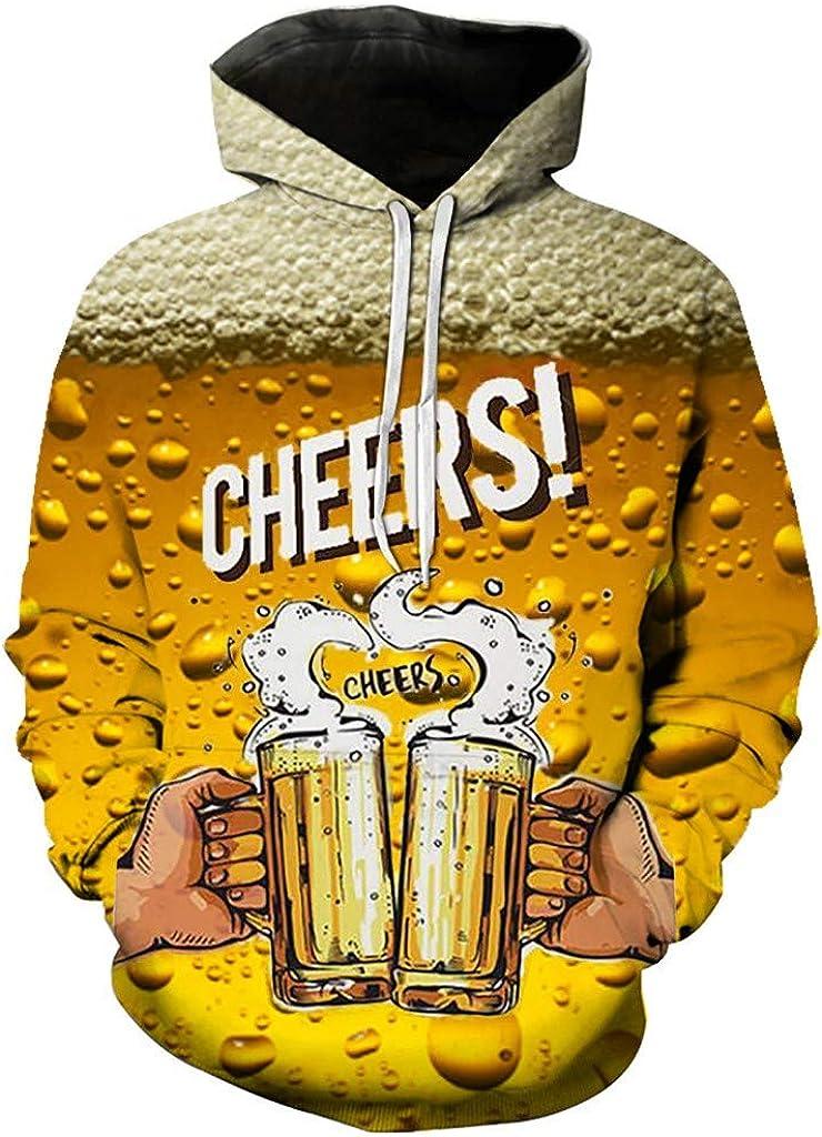 Men's Casual Long Sleeve Oktoberfest 3D Digital Printing Hoodies Hooded Pullover Sweatshirt Tops with Pockets