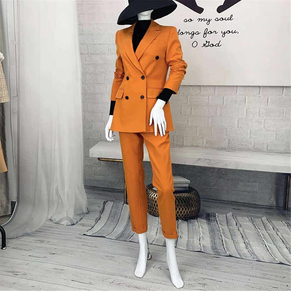 JJWC Blazer Two Piece Set Women Korean Elegant Casual Suit Ankle-Length Pants (Color : A, Size : XXL)