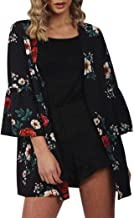 LISTHA Women Chiffon Floral Kimono Cardigan Loose Shawl Tops Cover up Blouse Summer