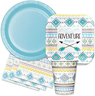 Tribal Feather Baby Boy Shower Party Supplies Kit - The Adventure Begins Themed Paper Plates, Napkins, Cups
