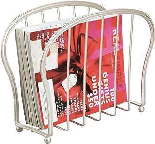 mDesign porte-revues à poser au sol – présentoir en acier élégant pour la salle de bain ou le bureau – range-revue pour li...
