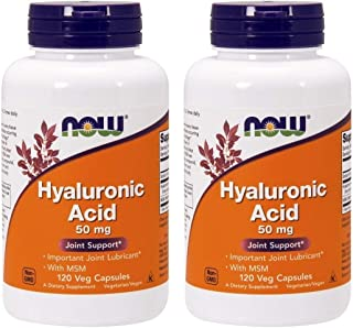Now Foods Hyaluronic Acid with MSN, 120 Capsules (Pack of 2)