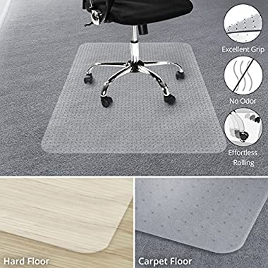 Office Marshal Chair Mat for Carpet Floors, Low/Medium Pile - 36  x 48 , Multiple Sizes - 100% Pure Polycarbonate, No-Recycling Material - Transparent, High Impact Strength