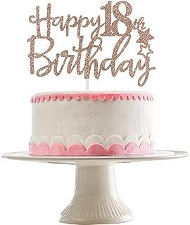 Rose Gold Glittery Happy 18th Birthday Cake Topper,18th Birthday Party Decorations,Birthday Cake Decor