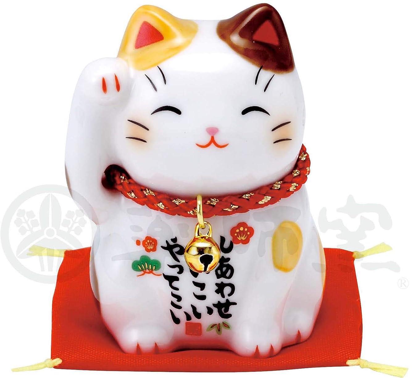 眉をひそめるオーストラリア禁じる彩絵 福 招き猫(茶ぶち) 7532