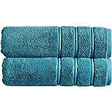Jimjis 2 piezas de toalla Set toalla de baño toalla cara toalla 100% algodón turco suave absorbente toalla conveniente para hotel dormitorio gimnasio baño centro piscina