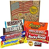 Heavenly Cesta de Dulces y Chocolate Americanos - Set de Marcas Clásicas de USA, Surtidos Originales, Regalo Perfecto para Niños, Adulto - Cumpleaños, Navidad - 9 Dulces, Pack de 25x18x2,5cm