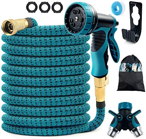 COOLWUFAN 50ft Expandable Garden Hose 9 Function High Pressure Water Spray Nozzle with 3 4 Solid product image