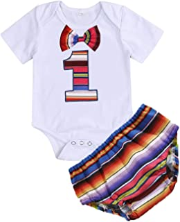 Baby Boy Girl Birthday Outfits Uno Bowtie Romper Bloomers Mexican Sombrero Costume Cake Smash Clothes