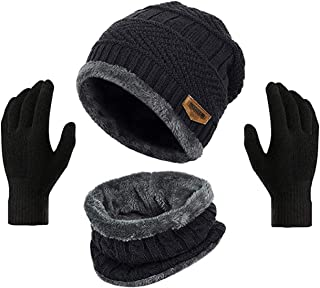 HUNTSMANS ERA Winter Knit Beanie Cap Hat Neck Warmer Scarf and Woolen Gloves Set Skull Cap for Men Women/Winter Cap for Me...