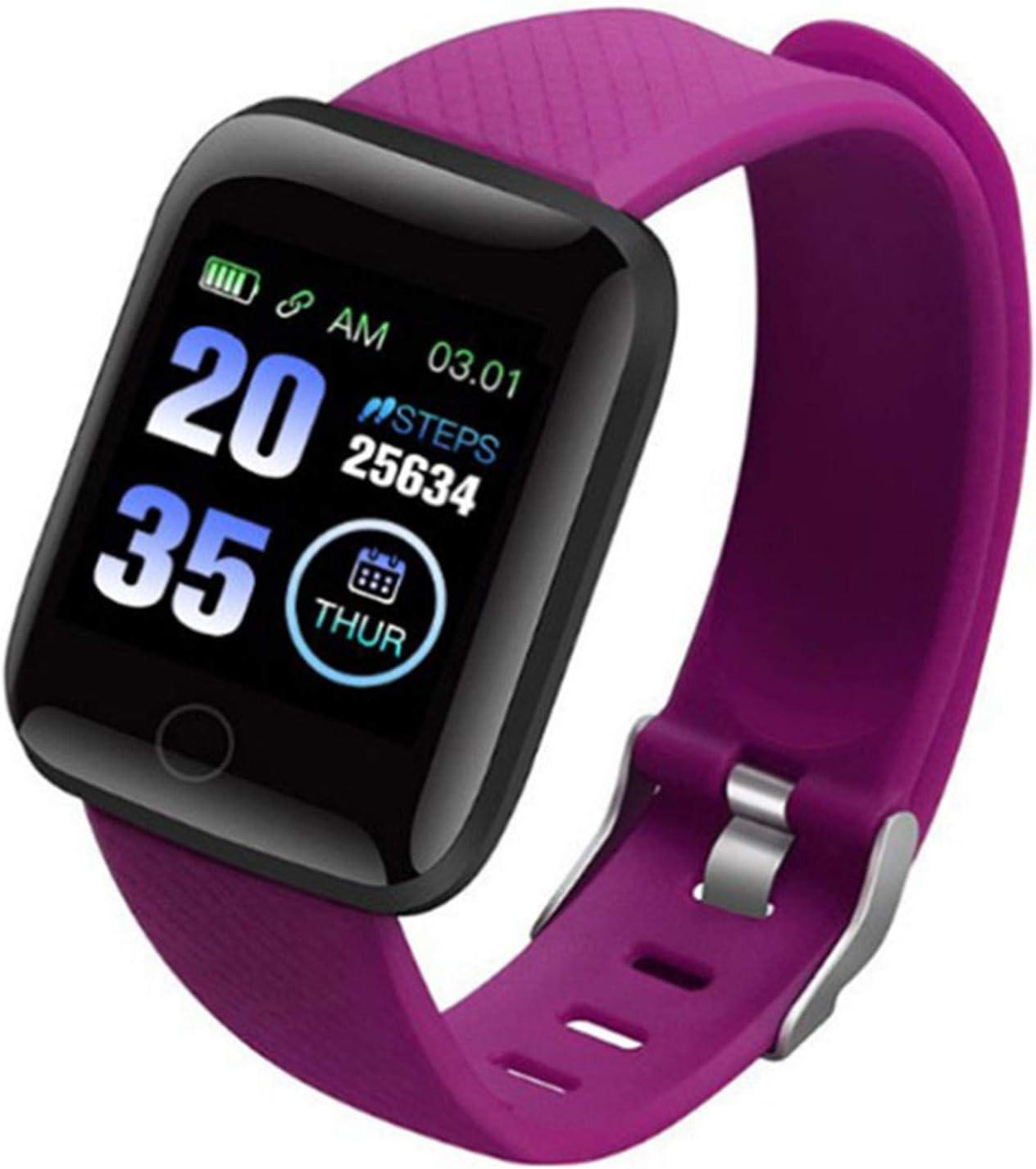 Wsaman Reloj de Pulsera Deportivo con Bluetooth, Monitor Rítmo Cardíaco y Sueño,con Pantalla de 1.3 Pulgadas, para Hombre Mujer Niño, Pulsera de Fitness,Púrpura