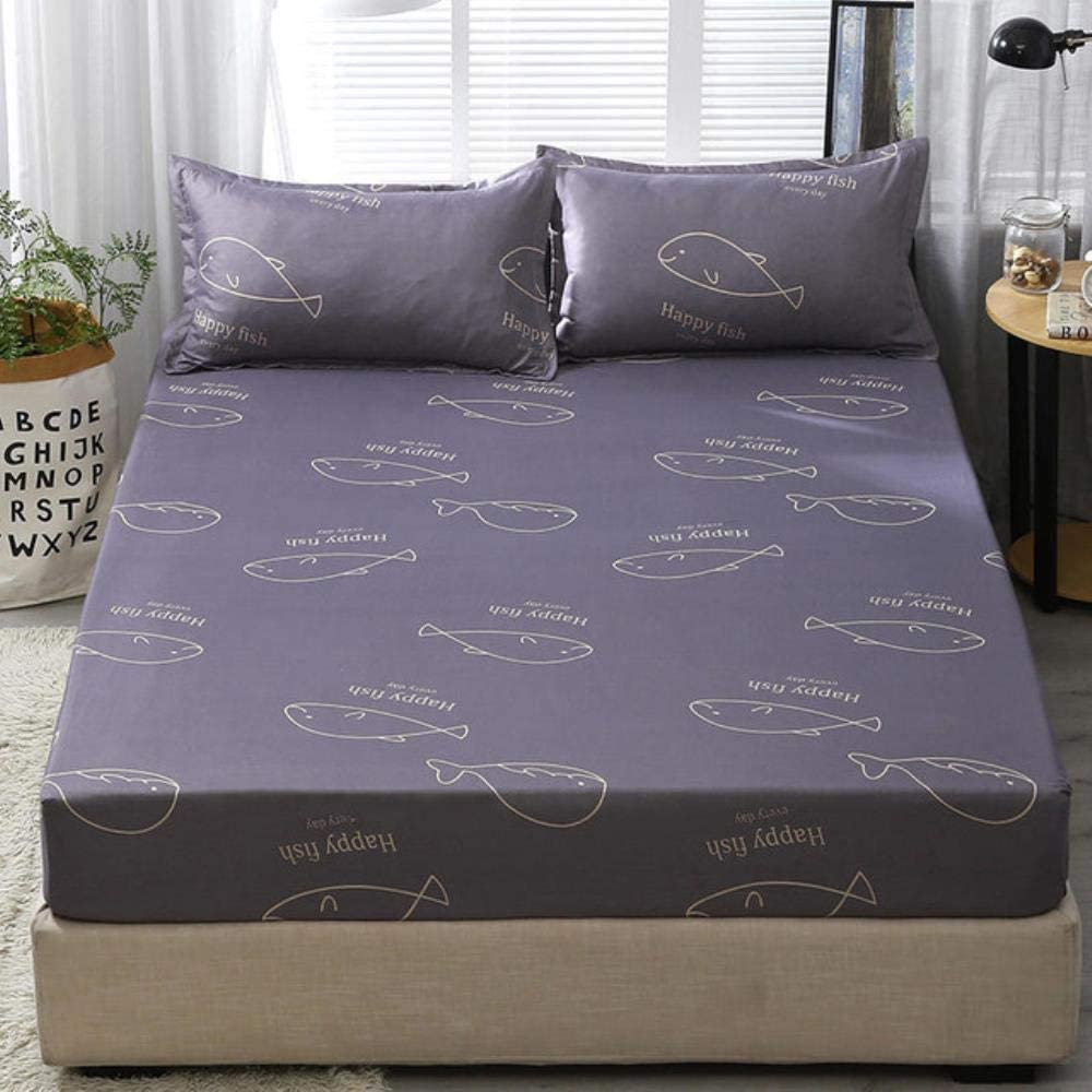 kuqi 3pcs Bed Sheet with Financial sales sale Line Blue Printed Spasm price Pillowcase Flower