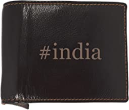 #india - Soft Hashtag Cowhide Genuine Engraved Bifold Leather Wallet
