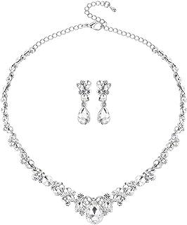 mecresh Clustered Crystal Rhinestone Flower Bridal Necklace Teardrop Dangle Earrings Jewelry Sets Silver … … …