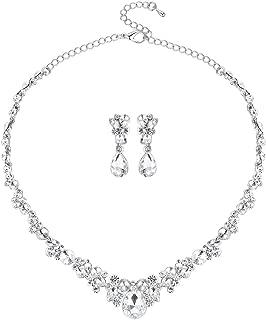 mecresh Clustered Crystal Rhinestone Flower Bridal Necklace Teardrop Dangle Earrings Jewelry Sets Silver …