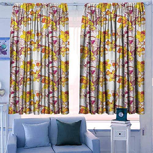Print patroon Gordijnen voor kamer donkere panelen voor woonkamer slaapkamer Daffodil Complex Kleurrijke Gedetailleerde Gemengde Narcissus Bloem Zes Bloemblaadjes Liefde Balans Schilderen Multi kleuren