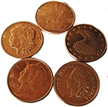 5x 1 Quarter Ounce Copper Ingots. 5 Pack of Pure .999 Copper Bullion Coins Uncirculated
