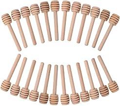 REFURBISHHOUSE Paquete de 50 Mini 3 Pulgadas Palitos Cazo de Miel Cazo de Madera y Miel Envuelto Individualmente Servidor para Miel Dispensador de Jarra Miel Rociada Favores de Fiesta de Boda
