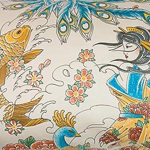 Asian Tattoo Duvet Cover, King Size Bedding in Geisha Garden Print