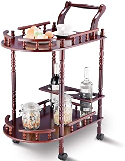 Giantex Serving Cart Kitchen Trolley Island Cart Solid Wood Home Commercial 2-Tier Rolling Island Cart w/Wheels Handle Bottle Holder Guard Rails Cherry