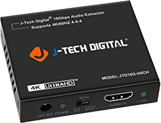 J-Tech Digital 4K 60HZ HDMI Audio Extractor Converter SPDIF + 3.5MM Output Supports HDMI 2.0, 18Gpbs Bandwidth, HDCP 2.2, Dolby Digital/DTS Passthrough CEC, HDR10 [JTD18G-H5CH]