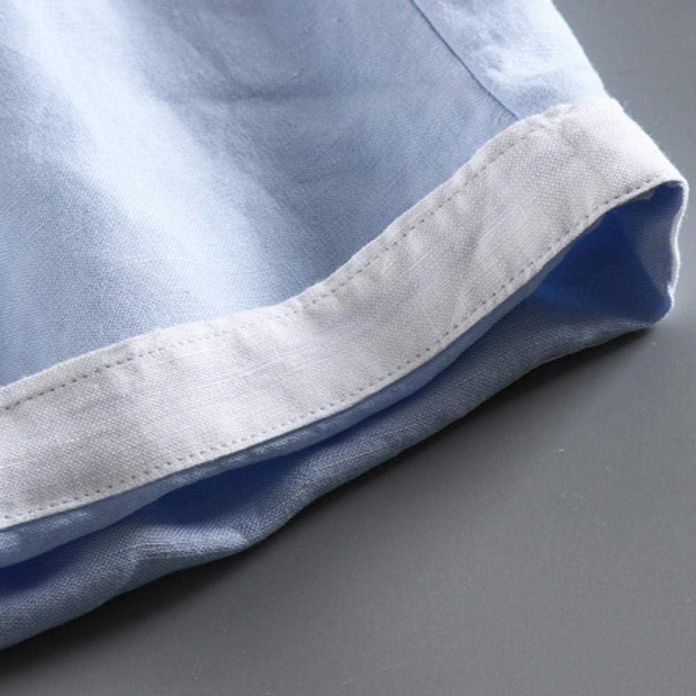 YOYVV Liste d'été Hommes Lin Casual Shorts de Couleur Unie Élégant et Exquis Shorts Respirants à Section Mince de Haute qualité W