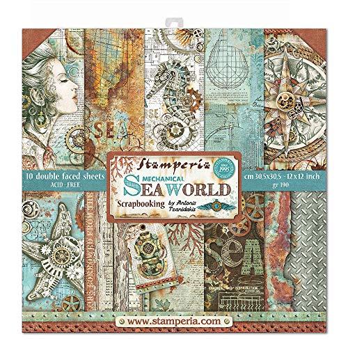 "STAMPERIA World-Bloc de Papel (10 Hojas, 30,5 x 30,5 cm, Doble Cara), Multicolor, 30.5 x 30.5 (12"" x 12"")"