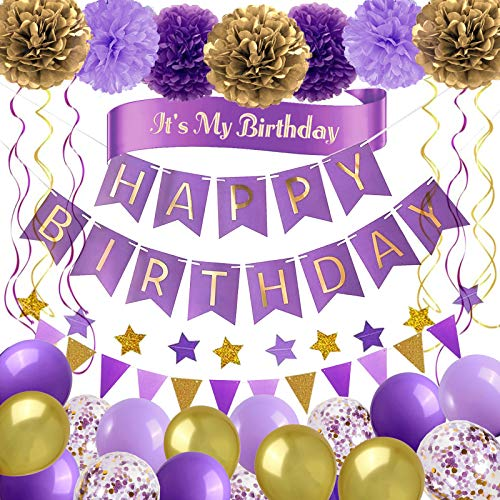 Birthday Decorations Purple Gold Birthday Party Supplies for Women Girls - Happy Birthday Banner, Party Balloons, It's My Birthday Sasha, Star Garland, Triangle Pennant, Pom Poms Flower and Hanging Swirls Party Packs