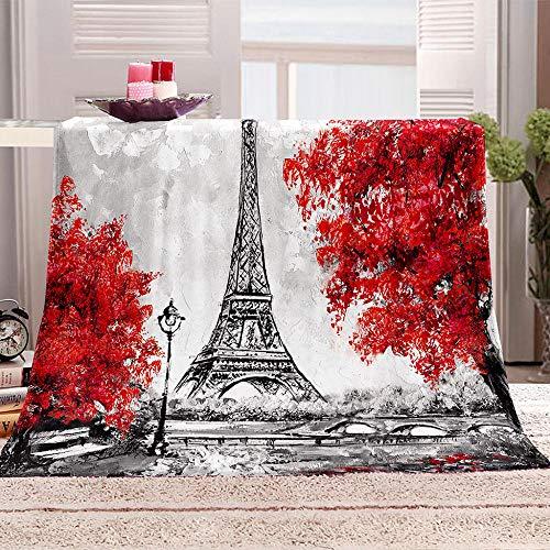 N \ A Pile Coperta da Giorno Acero Rosso e Torre di Parigi Bedding Sherpa Coperta in Pile di Flanella per Divano Morbida e Calda per Divano per Letto e Divano 150x200cm
