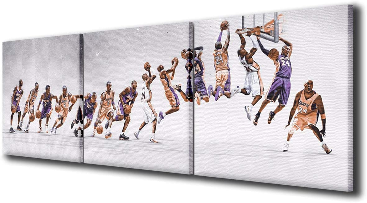 NBA Legend Kobe Max 87% OFF Bryant in Lakers Art Canvas Pieces Jersey store Wall 3