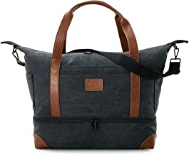 Canvas Weekender Travel Duffle Bag Carry on Luggage Tote Bag for Women Men Unisex (Black,M)